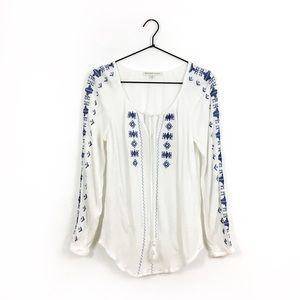 Daniel Rainn   Embroidered Gauze Peasant Top Small
